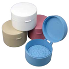 Miltex Round cotton roll dispenser, Blue, 1/pk. Plastic with hinged lid