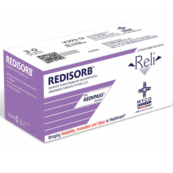 "Reli 5/0, 18"" Coated PGA Violet Braided Sutures w"