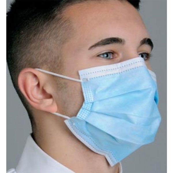 Breathe E-Z Pleated Earloop Mask - Blue, 50/Bx. L