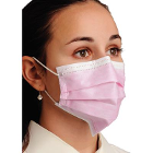 Breathe E-Z Pleated Earloop Mask - Pink, 50/Bx. Level 1. Fluid Resistant, Soft