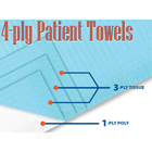 "Defend Patient Bibs BLUE 13"" x 18"" 3-Ply Tissue/1-Ply Poly 500/Cs. Rectangle"