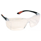 Defend Clear Protective Eyewear, one piece clear lens with black arms. Made