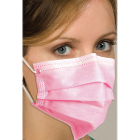 Defend Pink Fluid Resistant Ear-Loop Pleated Face Mask with BFE and PFE Greater