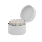 Palmero Cotton Roll Holder - Round, White. Base contains over 50 stainless