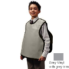 "Palmero Child Pano Dual X-Ray Apron, Grey Vinyl with grey binding, 19 7/8"" x 19"