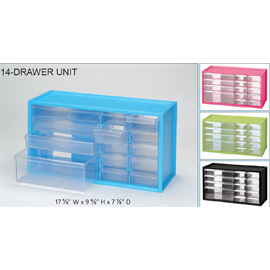 BenchTop Countertop Storage Cabinet with 14 Drawe  sc 1 st  Net32 : pink storage drawers plastic  - Aquiesqueretaro.Com