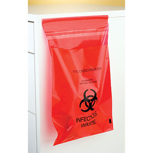 "Plasdent Stick-on Red Bio Hazard Waste Bags 9"" x"