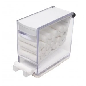 Plasdent Cotton Roll Dispenser - 'Push' Style - Clear w/ WHITE Accent. Spring