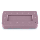 Plasdent Rectangular Bur Block - Mauve, Magnetic, 14 Burs Capacity, Dimension