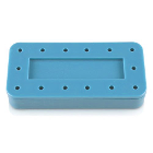 Plasdent Rectangular Bur Block - Blue, Magnetic, 14 Burs Capacity, Dimension