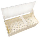 "Plasdent White Germicide Tray with Clear Lid, 10-3/8""L x 4""W x 3-1/4""H. Allows"