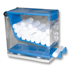Plasdent Cotton Roll Dispenser - 'Push' Style - Clear w/ BLUE Accent. Spring