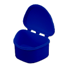 Plasdent Denture Box - Dark Blue Chroma Colored 12/Bx. Plastic with Hinged Lid