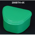 "Plasdent Denture Box - Aqua Chroma Colored 12/Bx. Plastic with Hinged Lid, 4""W"