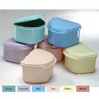 Plasdent Denture Box - Assorted Pastel Colored 12/Bx. Plastic with Hinged Lid