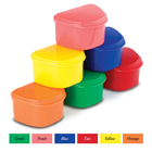 "Plasdent Denture Box - Assorted Colors 12/Bx. Plastic with Hinged Lid, 4""W x"
