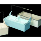 "Plasdent Blue Germicide Tray with Clear Lid, 10-3/8""L x 4""W x 3-1/4""H. Allows"