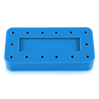 Plasdent Rectangular Bur Block - Spectrum Blue, 14 Burs Capacity. Magnetic