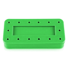 Plasdent Rectangular Bur Block - Spectrum Green, 14 Burs Capacity. Magnetic