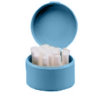 Plasdent Blue Round Cotton Roll Holder. Plastic with hinged lid 1/Pk