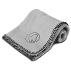 "Practicon Molar Logo Fleece Blanket 50"" x 60"", Gray. 1/Pk. Features stylized"