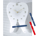 "Practicon White Tooth Clock with Blue Brush, 14""H x 11""W. Adorable Tooth Clock"