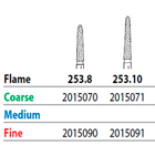 Two Striper FG #253.8 Coarse Diamond Burs, Flame shaped. Pack of 5