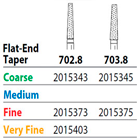 Two Striper FG 703.8 Coarse Diamond Bur Flat-End Taper. Pack of 5