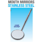 Premium Plus #5 Mouth Mirror Cone Socket Front Surface, Stainless Steel, box