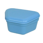 Primo Denture Boxes Blue, 12-PK. Plastic with Hinged Lid