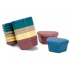 Primo Denture Boxes Assorted Colors, 12/Pk. Plastic with Hinged Lid