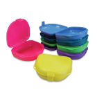 Primo Retainer Boxes Assorted Colors, 12/Pk. Plastic with Hinged Lid