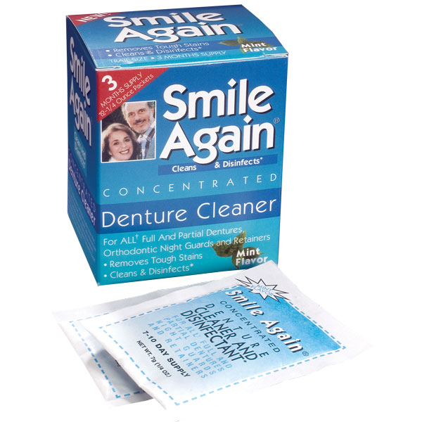 Smile Again Denture Cleaner 22 Box 2 Boxes Pack 44 Foil Packets Total Dental Supplies
