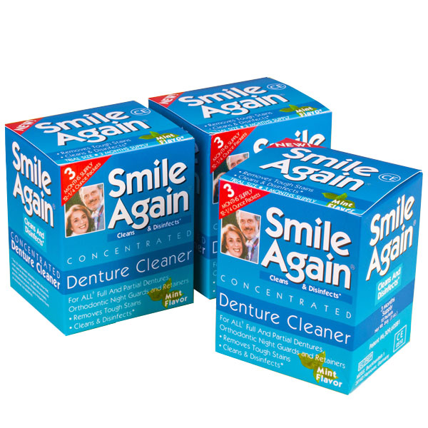 Smile Again Denture Cleaner Trial Size 12 Box 3 Boxes Pack Dental Supplies
