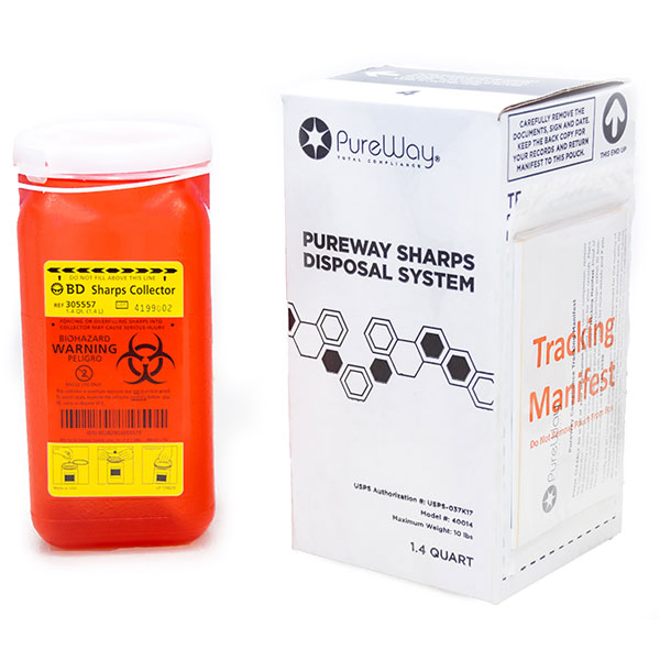 PureWay Sharps Disposal System - Single. 1.4 Quar