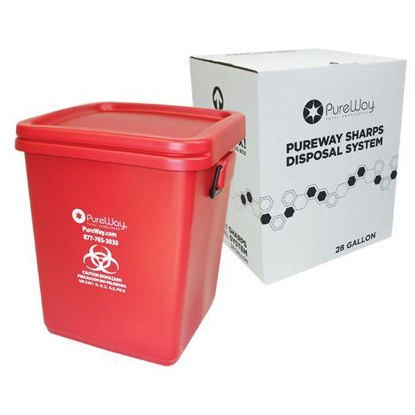 PureWay Sharps Disposal System. 28 gallon contain