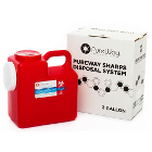 PureWay Sharps Disposal System - Single. 2 gallon container, shipping box &