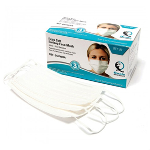 Quala Earloop Face Mask, ASTM Level 3, White, 50