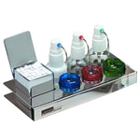 Solution Tray with 3 Dropper Bottles, #3 Tiltop Pellet Dispenser and 2 Glass