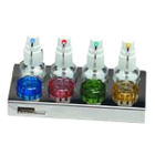 Solution Tray with 4 Dropper Bottles and 2 Glass Dappen Dishes of each color