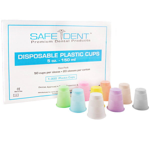 Safe-Dent White 5 oz. plastic cups, ribbed design