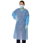 Safe-Dent Non-Woven Isolation Gown Blue with Elastic Cuffs, Two Ties, 100/Pk