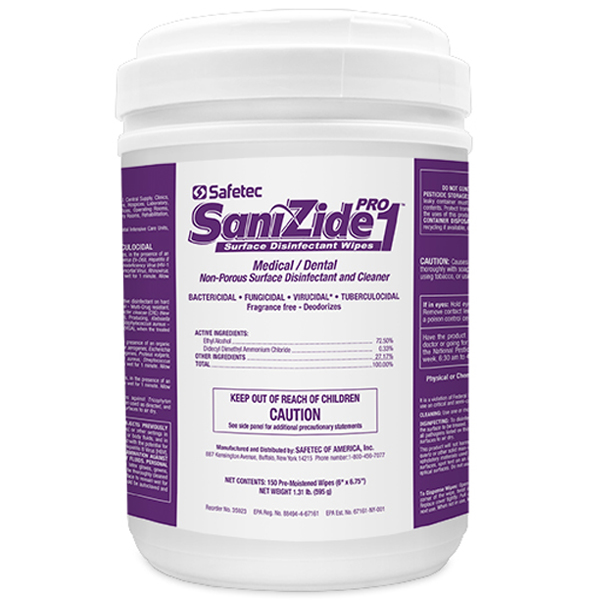 "SaniZide Pro 1 Disinfecting Wipes, 6"" x 6.75"", 15"