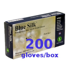 Blue Silk Nitrile Exam Gloves: MEDIUM 200/Double Box. Powder-Free, Textured