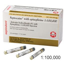 Septocaine Articaine 4% with Epinephrine 1:100,000  Box of 50 - 1 7 mL