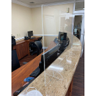 "Signature Front Desk Sneeze Guard. Freestanding clear acrylic shield 32"" width"
