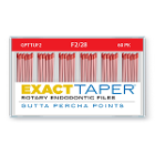 ExactTaper F2 Gutta Percha Points 28mm, 60/Box. Hand jig rolled to produce