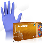 Aurelia Amazing Nitrile Gloves: SMALL 300/Bx. Powder-Free, Violet, Beaded Cuff. Ultra-thin (2 mil)