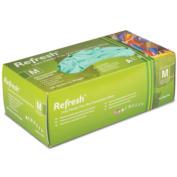 Aurelia Refresh Latex Gloves: X-LARGE 100/Bx. Pow