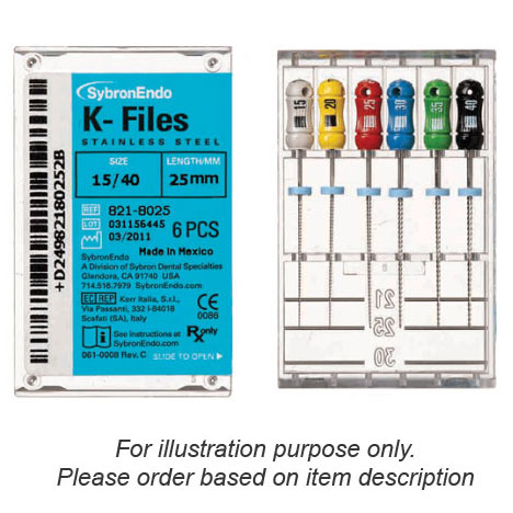 SybronEndo K-Files 25mm #10 6/Box. Stainless Stee